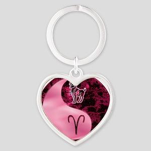 Pink Yin Yang Aries  Heart Keychain