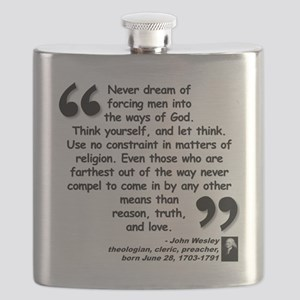 Wesley Religion Quote Flask