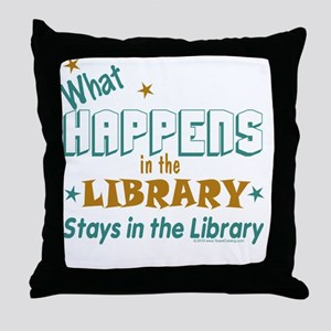 What_Happens_in_the_Library_Green_and Throw Pillow