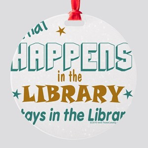What_Happens_in_the_Library_Green_a Round Ornament