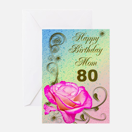 80 year old birthday greeting cards cafepress 80th birthday card for mom elegant rose greeting bookmarktalkfo Choice Image