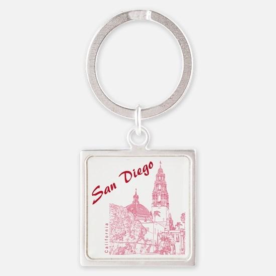 SanDiego_10x10_CaliforniaTower_Red Square Keychain