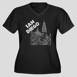 SanDiego_10x Women's Plus Size Dark V-Neck T-Shirt