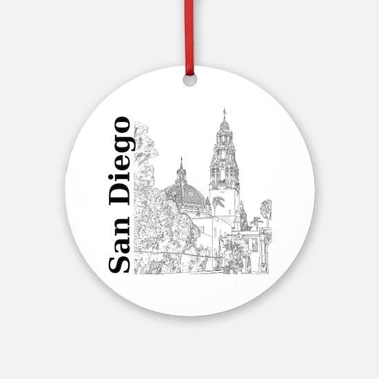 SanDiego_10x10_CaliforniaTower_SD_V Round Ornament
