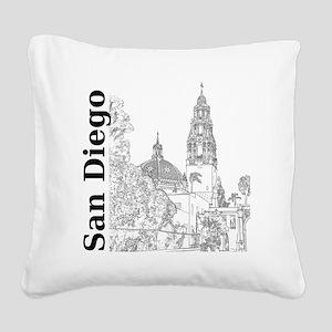 SanDiego_10x10_CaliforniaTowe Square Canvas Pillow