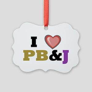 I heart pbj Picture Ornament