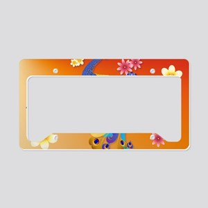 Fancy Peacock and Flowers License Plate Holder