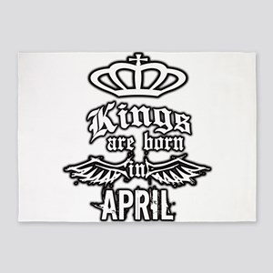 king are born in april 5'x7'Area Rug