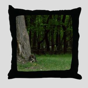 Foraging Raccoon Throw Pillow