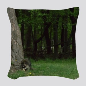 Foraging Raccoon Woven Throw Pillow