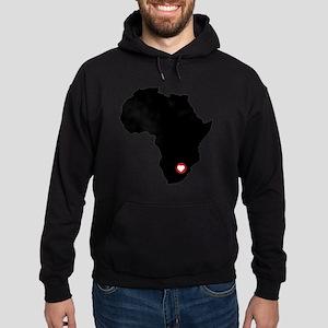 Africa red heart Hoodie (dark)