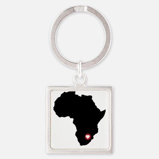 Africa red heart Square Keychain