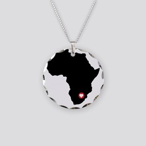 Africa red heart Necklace Circle Charm