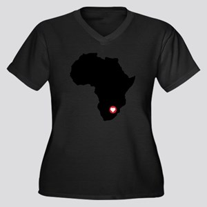 Africa red h Women's Plus Size Dark V-Neck T-Shirt