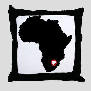 Africa red heart Throw Pillow