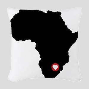 Africa red heart Woven Throw Pillow
