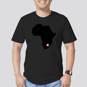 Africa red heart Men's Fitted T-Shirt (dark)