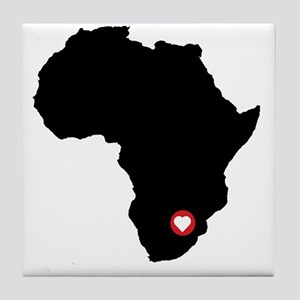 Africa red heart Tile Coaster