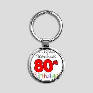 Great Grandmas 80th Birthday Round Keychain