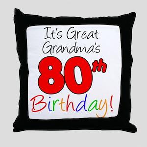 Great Grandmas 80th Birthday Throw Pillow