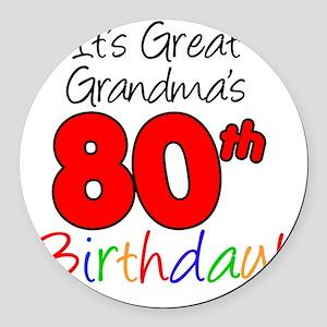 Great Grandmas 80th Birthday Round Car Magnet