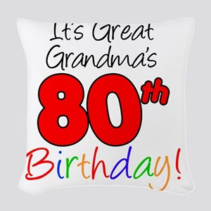 Great Grandmas 80th Birthday Woven Throw Pillow