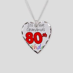 Great Grandmas 80th Birthday Necklace Heart Charm