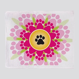 Paw Prints Flower Throw Blanket