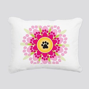 Paw Prints Flower Rectangular Canvas Pillow