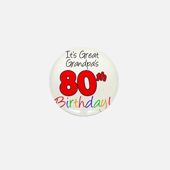 Great Grandpas 80th Birthday Mini Button