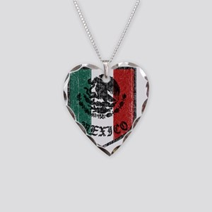 mexico-vintage-flag Necklace Heart Charm