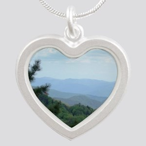 Great Smoky Mountains I Silver Heart Necklace