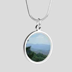 Great Smoky Mountains I Silver Round Necklace