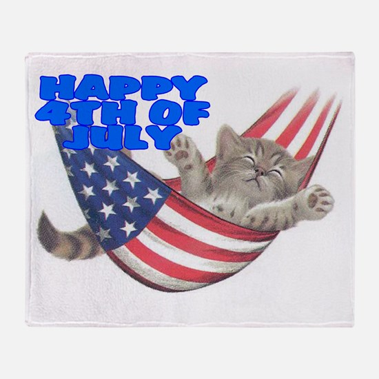 CAT 4TH.gif Throw Blanket