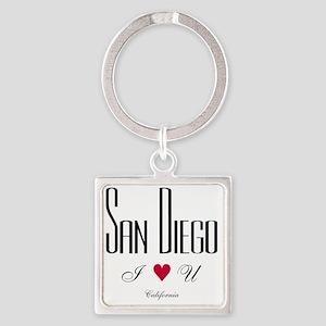 SanDiego_10x10_ILoveU_BlackRed Square Keychain