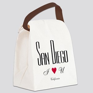 SanDiego_10x10_ILoveU_BlackRed Canvas Lunch Bag