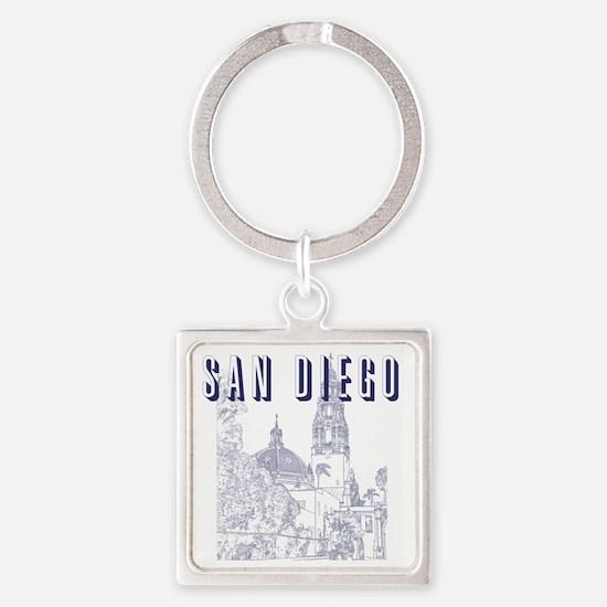 SanDiego_10x10_CaliforniaTower_Blu Square Keychain