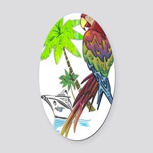 Parrot Tropical Cruise Oval Car Magnet