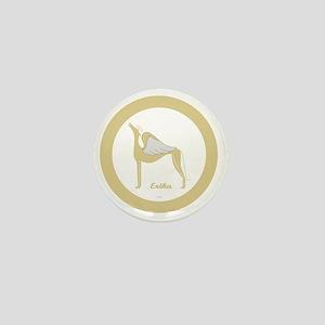 ERIKA ANGEL GREY gold rim round orname Mini Button