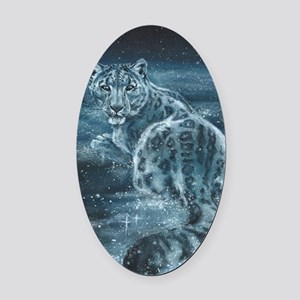 Star Leopard Oval Car Magnet