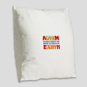 Autism Burlap Throw Pillow