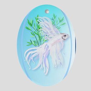OvalJewelWhite Siamese Fighting Fish Oval Ornament