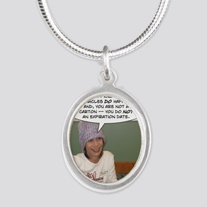 Words Silver Oval Necklace