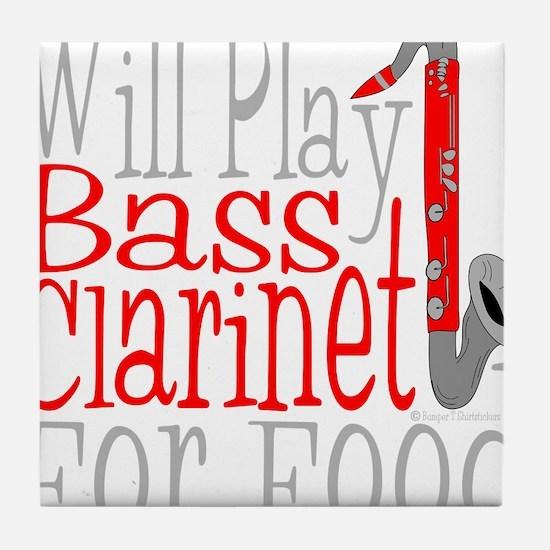 Will Play Bass Clarinet dark Tile Coaster