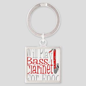 Will Play Bass Clarinet dark Square Keychain