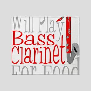 Will Play Bass Clarinet dark Throw Blanket