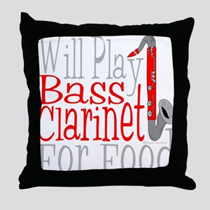 Will Play Bass Clarinet dark Throw Pillow