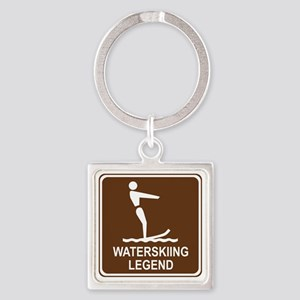 brown_water_skiing_oddsign1 Square Keychain