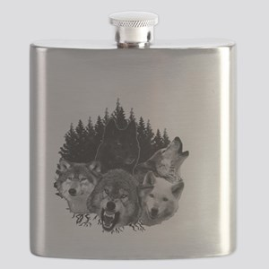 Wolves Night Moon Flask