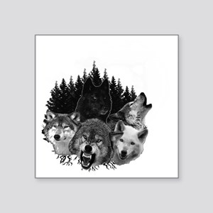 """Wolves Night Moon Square Sticker 3"""" x 3"""""""